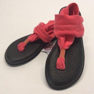 Sanuk Yoga Sling Women's Coral Thong Sandal Sz 5